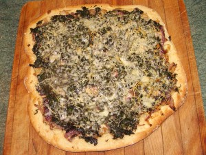 Kale and cheddar pizza