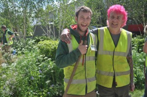 Alan Gardner and one of his team at Chelsea Flower show 2015