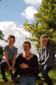 Sam with her kids